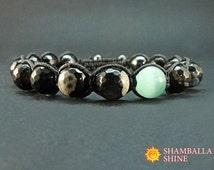 Meditation men gemstone Black men bracelet Dark natural beads Black agate jewelry Gift for men Healing power stone Beaded black bracelet