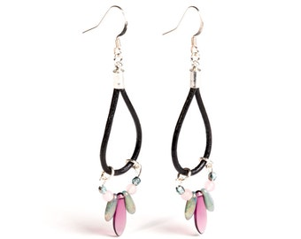 """Black Leather Silver Earrings """"Turquoise-Pink'"""