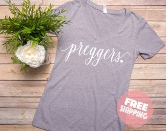 Preggers Shirt - Preggers Fitted V Neck Shirt, Heather Gray, Pregnancy announcement ,Prego Shirt, Pregnant Mom To Be, Mom to be Shirt,
