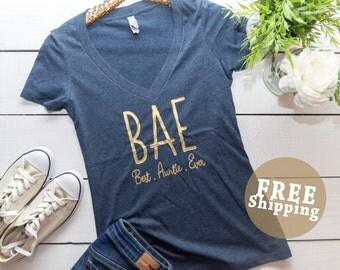 FREE Ship,BAE Shirt, Best Auntie Ever, Best Auntie Shirt, Auntie shirt, Aunt shirt, Proud Aunt, New Aunt, Auntie  ©