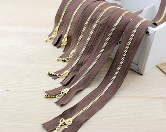 Variant Length Great Quality Coffee Vintage Brass Metal #3 Bag Purse Zipper with Drop Style Zipper Pull, 5 PCS, Z023
