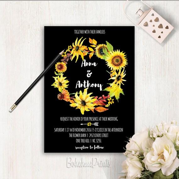 Sunflower Wreath Wedding Invitation Printable Bohemian Boho