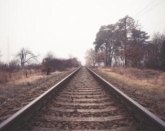 Railroad Photo - Railway Photo - Nature - Rail - Road Photo - Mist - Fog - Foggy Road - Digital Photo - Digital Download - Living Room Decor