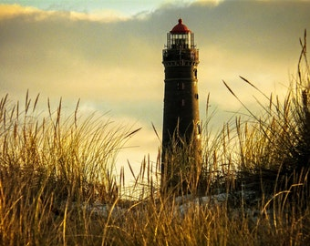 Lighthouse - Lighthouse Photo - Fields - Grass - Landscape - Digital Photography - Digital Download - Instant Download - Living Room Decor