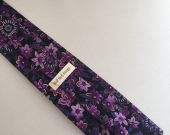 Purple and Gold Floral Necktie
