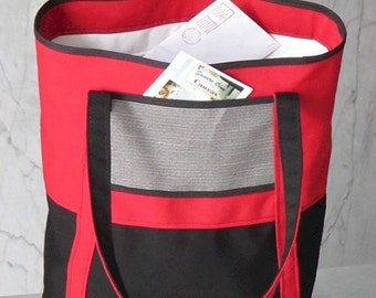Red and Black Canvas Tote Bag