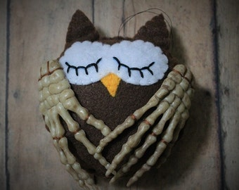 Owl ornament-Creepy owl-Dark owl decor-Skeleton owl-brown owl with skeletal wings-Owl decor-unique owl-weird decor-Creepy Christmas