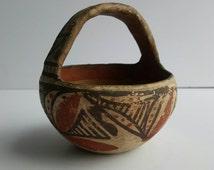 Antique Southwest Acoma Pueblo pottery basket old and beautiful
