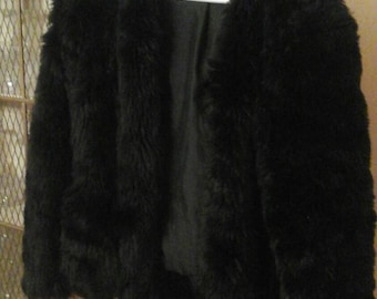 Faux black fur jacket