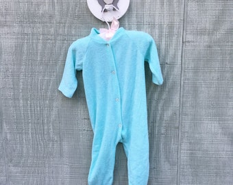 Vintage Closed Toe Boy Baby Sleeper, Mint Green Sleeper, Terry Cloth Sleeper, Baby Boy Sleeper, Inseam Snaps, Size 0-3 Months, Triplets