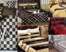 Prada Louis Vuitton Chanel Bedding Set Queen Size Satin Sheet Pillowcases Bedroom Duvet Cover Luxury Comfortable High Quality New
