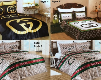 Gucci Bedding Set Queen Size Satin Sheet Pillowcases Bedroom Duvet Cover Luxury Comfortable High Quality New in Box