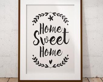 Home Sweet Home, Printable Art, Wall decor, Typography Print, Floral Wreath, Modern Wall Print, Housewarming Gift, Digital Download