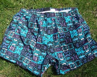 Swim Trunks 80s Swimsuit Sunsations Vintage 90s Swimwear Aqua Purple Black Mens