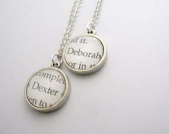 Dexter Morgan and Debra Morgan double sided Book charm necklace