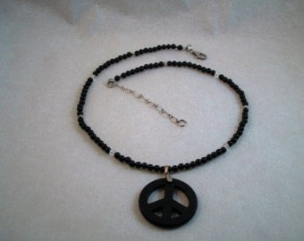 Black Onyx Peace Sign Necklace