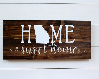 Home Sweet Home Georgia Rustic Entryway Wall Sign
