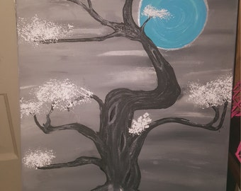 Awesome tree handprinted canvas