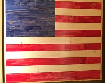 Wood Wall Art- American Flag - FREE SHIPPING