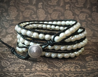 Fresh Water Pearl Leather Wrap Bracelet