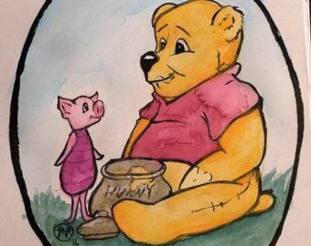 Winnie the Pooh and Piglet original watercolor art