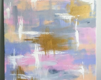 Lavender Lace - Purple, Grey & Gold Abstract Painting