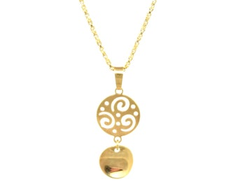 Disc Necklace/14K Gold Filled/Cut out Charm/Gold Necklace