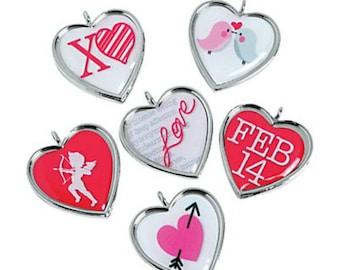 Framed valentine heart charms - set of 12