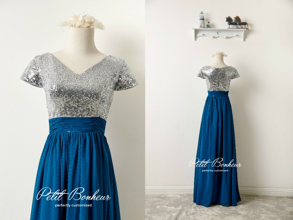 Silver sequin V neck prom dress bridesmaid by