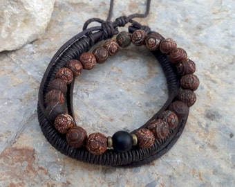 Men's Leather & Beaded Bracelet Set