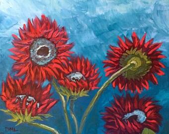 Sunflower decor, red sunflower art, red sunflower painting, red sunflower oil painting, red sunflowers, red sunflowers art, flower art,