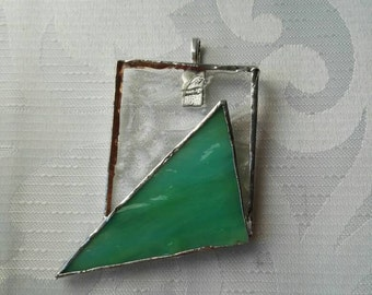 Stained glass necklace, unique piece of jewelry, green pendant