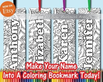 13 Custom Add a Name Coloring Bookmarks with Ribbon / Personalized Bookmarks / Favorite on Instagram Likes Twitter & Tumblr