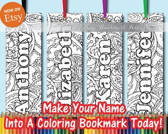 4 Custom Add a Name Coloring Bookmarks with Ribbon / Personalized Bookmarks / Favorite on Instagram Likes Twitter & Tumblr