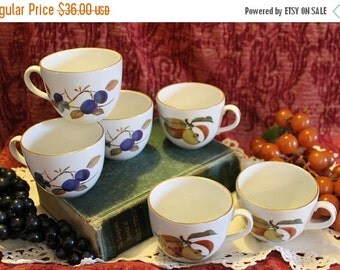 End Of Summer SALE Set of 6 Royal Worcester Porcelain Coffee or Tea Cups - 1961, Evesham Pattern, Plums and Peaches Fruit Motif