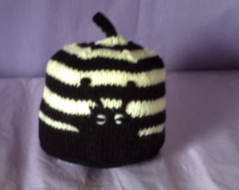Babys hand knitted bumble bee hat
