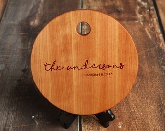 Round Personalized Cutting Board, Cheese Board Made from Cherry Wood, Custom Cutting Board Serving Tray