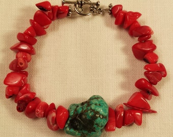 Bracelet, Turquoise Nuggett And Red Coral Chips