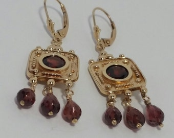 Garnet Earrings, Garnet Dangle Earrings, 14k Yellow Gold Vintage look Garnet Earrings, 14k Garnet Leverbacks, January Birthstones, #E775