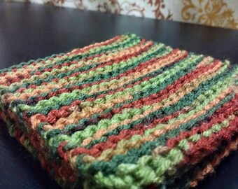 Hand Knitted Coasters - Multicolor - Set of 4 - FREE SHIPPING in U.S.