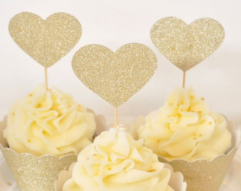 Gold Glitter Cupcake Toppers - Pack of 12