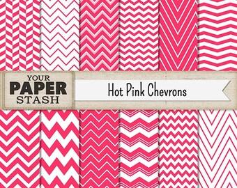 Chevron Digital Paper, Hot Pink, Pink, Chevron, Digital Paper Pack, Scrapbook Paper, Girl, Birthday, Summer, Scrapbook Page, Commercial Use