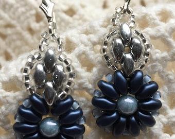 Montana Blue Flower Earrings, Sterling Silver Lever Back Ear Wires, Lightweight! Beaded jkmkArts,E107
