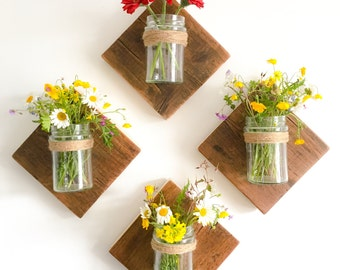 Rustic Reclaimed timber wall mounted jars