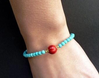 Turquoise Bracelet Blue Beaded Bracelet Fashion Bracelet