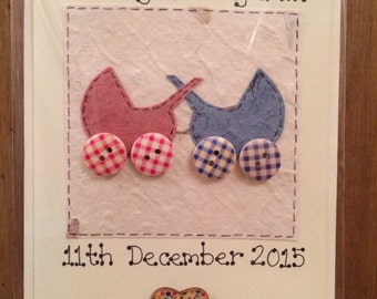 Personalised Newborn baby card - boy, girl and twins