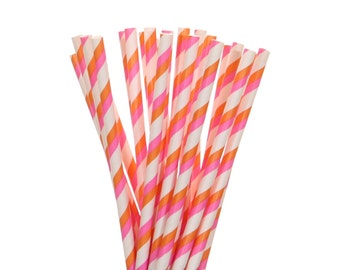 Paper Straws, Hot Pink and Orange Striped Paper Straws, Pink Orange Straws, Birthday Party Supplies, Sleepover Party Supplies, Paper Straws