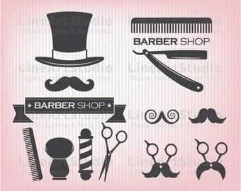 SVG Barber Shop Theme - Svg Barber Files - Hairstylist Monogram Frames - Svg Files - SVG for Silhouette - Svg for Cricut and More
