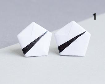 Paper studs - minimalism Origami - weiß