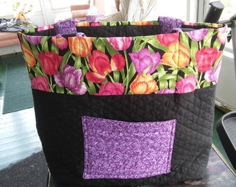 Tulip/ Lavender Scroll Print Quilted Reversible Tote